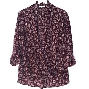 PLEIONE. Burgundy faux wrap blouse.